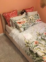 Queen slat bed, upholstered headboard in tan in Chicago, Illinois