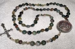 Rosary Maori Hook Indian Agate Beads Coin Shaped Maori Piece Porcelain from Peru Italian Silver ... in Kingwood, Texas