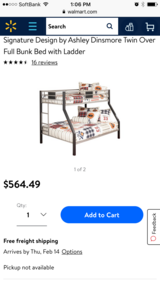 Bunk bed, Full size bottom, twin top/ mattresses included in Okinawa, Japan
