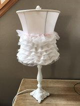 lamp with shade and pink trim ribbon in Naperville, Illinois