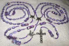 Lasso Wedding Rosary Lavender Oval Crystal Beads Special Flower Pater Beads Italian Silver Medal... in Kingwood, Texas