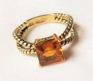 lia sophia Gold Tone Amber Tequila Sunrise sz 8 Gem Stone Ring State Solitaire in Kingwood, Texas