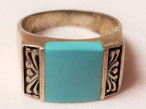 Turquoise sz 8 Sterling Silver 925 Ring Southwest Boho Native Indian Thailand in Kingwood, Texas