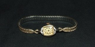 Vintage 14K Gold Ladies Wrist Watch / Diamonds by Vulcan 17 Jewels Shock Protected ~ Works in Naperville, Illinois