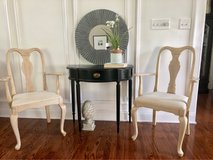 2 wood distressed chairs and end table in Glendale Heights, Illinois
