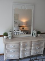 9 Drawer Vintage 1960s French Henredon Serpentine Dresser, Nightstand & Mirror in Oswego, Illinois