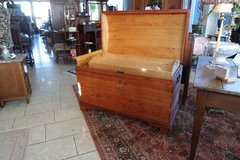 antique soft wood chest with rounded top and tray inside in Spangdahlem, Germany