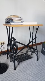 Anique cast iron sewing machine oak top night stand table in Glendale Heights, Illinois