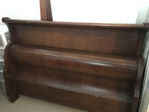 Queen Wood Sleigh Bed w/ Mattress in Ramstein, Germany