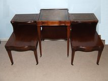 MCM Accent Table & Side / End Tables  3-Piece Matching Set / Leather Inlay in Glendale Heights, Illinois