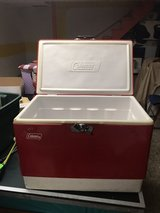 Vintage red Coleman cooler in Chicago, Illinois
