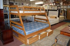 Solid Oak Twin Over Full Bunk bed frame complete in Fort Lewis, Washington