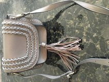 Gray faux leather crossbody w/detail in Chicago, Illinois