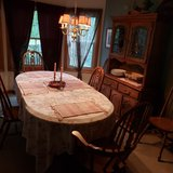 Solid Oak Dining room set, Large Table with hutch.. in Algonquin, Illinois