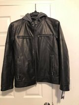 Men's New size large black leather jacket with hood Wilson's Leather in Chicago, Illinois