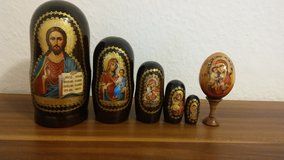 Set of original decoration eggs with religious motives in Wiesbaden, GE