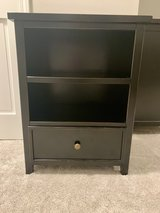 Long Black Crate and Barrel Dresser and Nightstand/bookcase in Westmont, Illinois