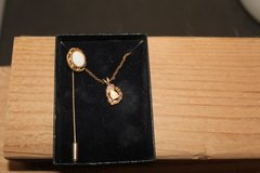 Vintage Gold Plated necklace and lapel pin with Opal in Alamogordo, New Mexico