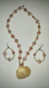 Handmade Bead Seashell Necklace and Earring Set in Beaufort, South Carolina