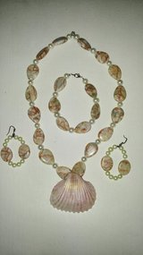 Handmade Bead Seashell Necklace Bracelet and Earring Set in Beaufort, South Carolina