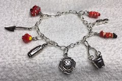 Charm Bracelet Firefighter Silver Charms Red Handmade and Handpainted Charms Adjus... in Kingwood, Texas