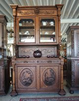 Gorgeous antique hunter's hutch with ornate carvings in Stuttgart, GE