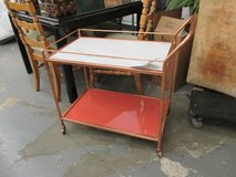 Marble Topped Bar Cart with Red Base in Glendale Heights, Illinois