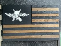 "USMC Force Recon ""Jack of all trades"" Rustic wooden wall art flag in Okinawa, Japan"
