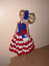 Texas Rangers crochet Barbie Doll Dress w/ removable pin in Fort Hood, Texas