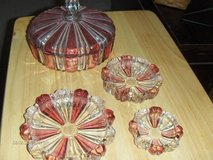 Very Old Red and Clear Candy Dish w/Lid and 3 matching ashtrays in Kingwood, Texas