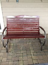 WOODEN AND CAST ALUMINUM GLIDER BENCH in Joliet, Illinois