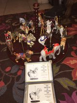 Franklin Mint-Treasury of Carousel Art-6 Horses,6 Animals & Wood Carousel in Wiesbaden, GE