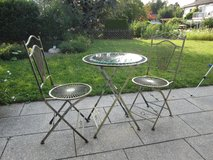 Patio Table and 2 Chairs, Wrought Iron with glass overlay in Stuttgart, GE
