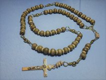 Fishing Rosary Brown Wooden Beads Brass Swivels Brass Tri Swivel Middle Matching Crucifix Lightw... in Houston, Texas