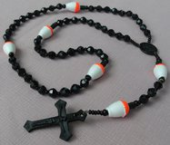 Fishing Rosary with Bobbers Black Wooden Beads Orange Spacers in Houston, Texas