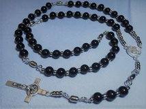 Rosary Fishing Black Obsidian Beads Silver Fishing Swivel Pater Beads St. Christopher Medal Ital... in Houston, Texas