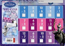 NEW Disney Frozen Wipe Clean Activity Dry Erase Board Subtraction Math School in Yorkville, Illinois