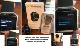 Fitbit Blaze Smart Fitness Watch Size Small Black FB502SBKS + New Extra Steel Mesh Band in Kingwood, Texas
