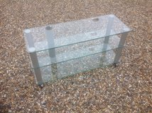 3 Tier Clear Glass & Chrome TV Stand in Lakenheath, UK