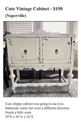 Vintage Farmhouse Cabinet Chippy in Oswego, Illinois