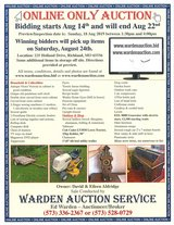 Online Only Auction in Fort Leonard Wood, Missouri