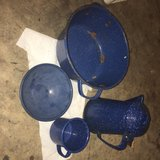 lot of four antique blue speckled enamelware pieces in Warner Robins, Georgia