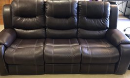leather reclining couch furniture / brown in Okinawa, Japan