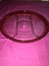 Depression glass Ruby Flash divided serving platter in Beaufort, South Carolina