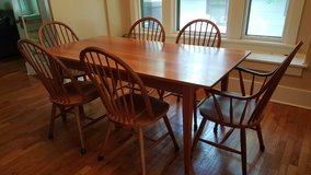 Solid cherry wood Amish style dining room table and chairs in Fort Riley, Kansas