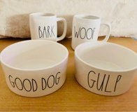 Rae Dunn dog bowls and coffee mugs in Plainfield, Illinois