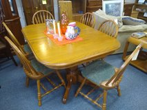 Solid Oak Table with 6 Chairs and 2 Leaves in Glendale Heights, Illinois