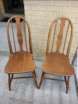 Pr of solid oak antique chairs in Westmont, Illinois