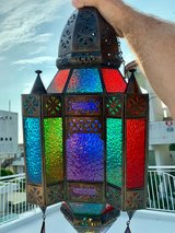 Beautiful new Turkish Moroccan colored stained glass and brass hanging lantern in Okinawa, Japan
