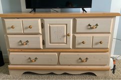 Full bedroom set with frame.  Dresser/mirror, chest,lingerie chest, nightstand, headbord/footboa... in Camp Lejeune, North Carolina
